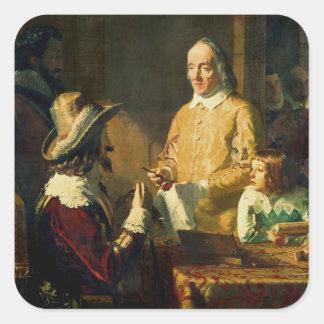 William Harvey  demonstrating to Charles I Square Sticker