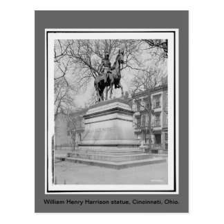 William Henry Harrison statute, vintage photo Postcard