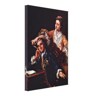 William Hogarth - David Garrick and his wife Canvas Print