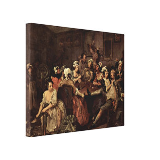 William Hogarth - Scene in a tavern Canvas Print