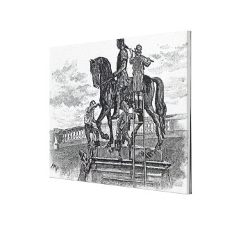 William III statue being painted black, Dublin Canvas Print