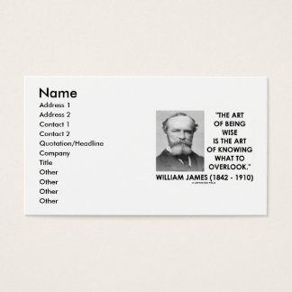 William James Art Of Being Wise Knowing Overlook Business Card