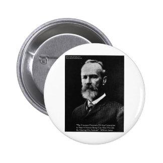 "William James ""Attitude"" Wisdom Quote Gifts & Card Pinback Button"
