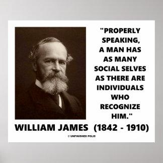 William James cita social de muchos uno mismo Póster