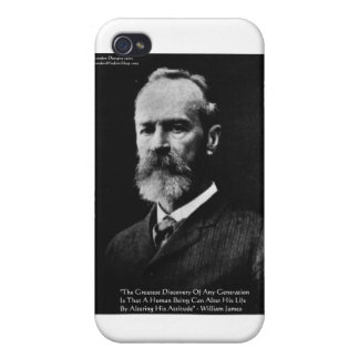 """William James """"itude"""" Wisdom Quote Gifts & Card iPhone 4/4S Cases"""