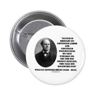 William Jennings Bryan Success Labor Watchfulness Pinback Button