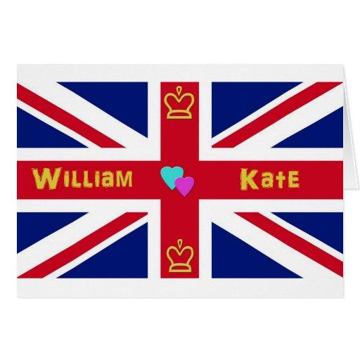 William & Kate British Flag Greeting Cards