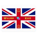 William & Kate British Flag Postcard