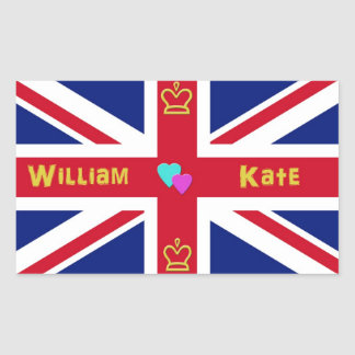 William & Kate British Flag Rectangular Sticker