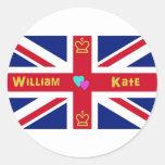 William & Kate British Flag Stickers