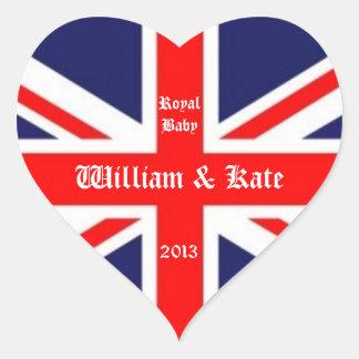 William & Kate/Royal Baby-Union Jack Heart Sticker