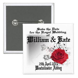 William & Kate Royal Wedding Collectibles Souvenir 2 Inch Square Button