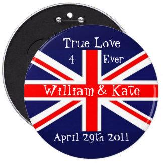 William & Kate-Wedding+Union Jack 6 Inch Round Button