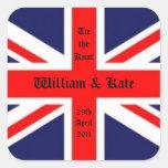 William & Kate Wedding-Union Jack Square Stickers