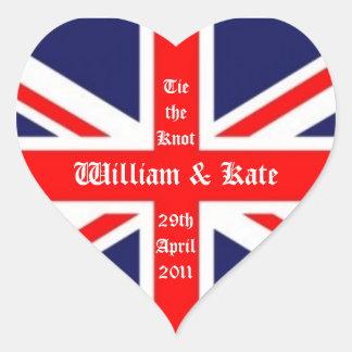 William & Kate Wedding-Union Jack Heart Sticker
