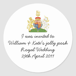 William & Kate's jolly posh Royal wedding badge Classic Round Sticker
