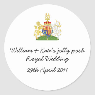 William & Kate's jolly posh Royal wedding badge Round Stickers