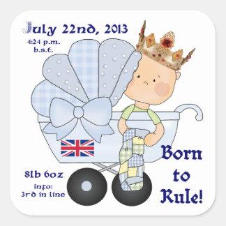 William & Kate's Little Prince/Birth Info Square Sticker