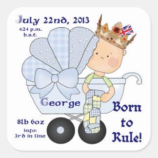 William & Kate's Little Prince George/Birth Info Square Sticker