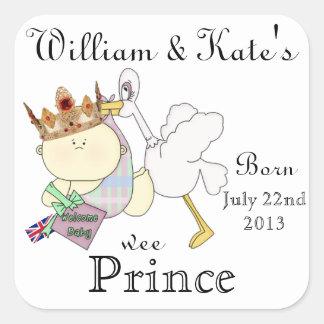 William & Kate's Little Prince-Stork/Baby-Custom Square Sticker