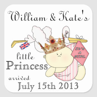 William & Kate's Little Princess-Stork/Baby-Custom Square Sticker
