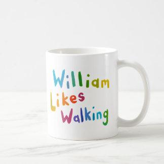 William Likes Walking fun word art for Bill Coffee Mug