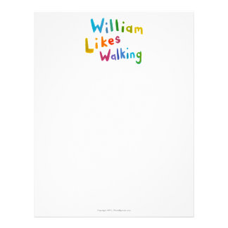 William Likes Walking fun word art for Bill Letterhead