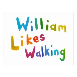 William Likes Walking fun word art for Bill Postcard