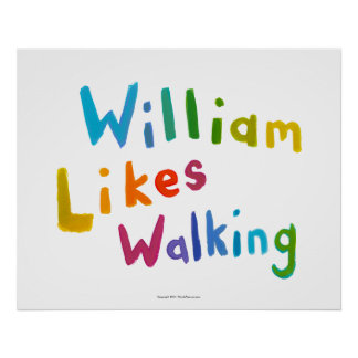 William Likes Walking fun word art for Bill Poster