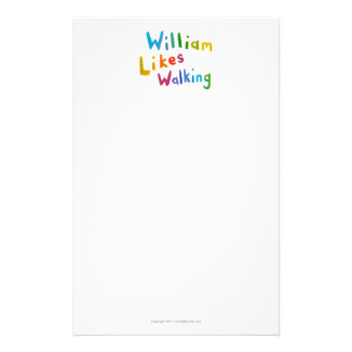 William Likes Walking fun word art for Bill Custom Stationery