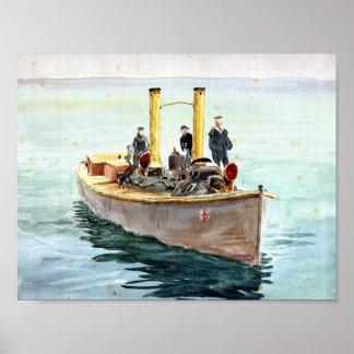 William Lionel  Wyllie, Steam pinnace Poster