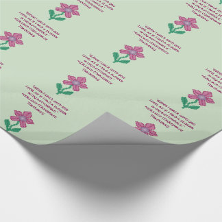 William Makepeace Thakeray Flower Quote Wrapping Paper