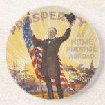 William McKinley Campaign Poster Gold Standard Beverage Coasters