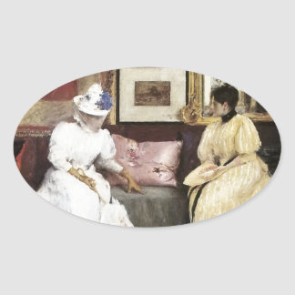 William Merritt Chase A Freindly Call Oval Sticker