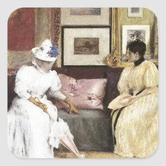 William Merritt Chase A Freindly Call Square Sticker