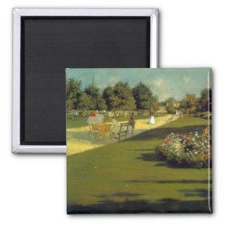 William Merritt Chase - Prospect Park 2 Inch Square Magnet