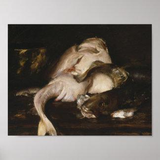 William Merritt Chase - Still Life, Fish Poster