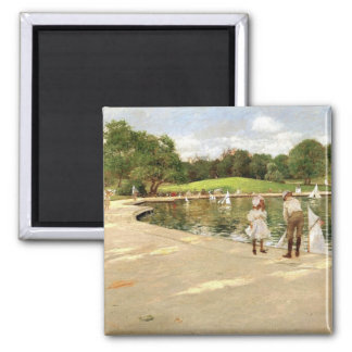 William Merritt Chase-The Lake for Miniature Yacht 2 Inch Square Magnet