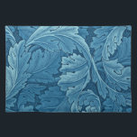 """William Morris Acanthus in Blue Cloth Placemat<br><div class=""""desc"""">The impressive Acanthus designed by William Morris in 1874 is one of his most instantly recognizable designs and marks the beginning of a period in which Morris created large-scale designs for wallpaper. With typical complex layering and vigorous curves the scrolling, acanthus foliage produces a three-dimensional effect. William Morris (24 March...</div>"""