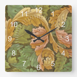 William Morris Acanthus Vintage Floral Square Wall Clock