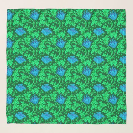William Morris Anemone, Emerald Green and Blue Scarf