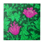 "William Morris Anemone, Emerald Green and Fuchsia Ceramic Tile<br><div class=""desc"">Ceramic tile in a vintage William Morris floral damask pattern of anemone flowers and leaves,  digitally enhanced and colored - emerald green leaves,  and flowers in shades of fuchsia pink on a dark emerald green background</div>"