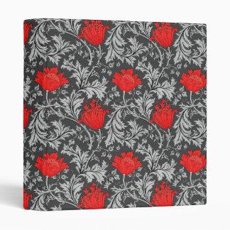 William Morris Anemone, Gray / Grey and Red Binder