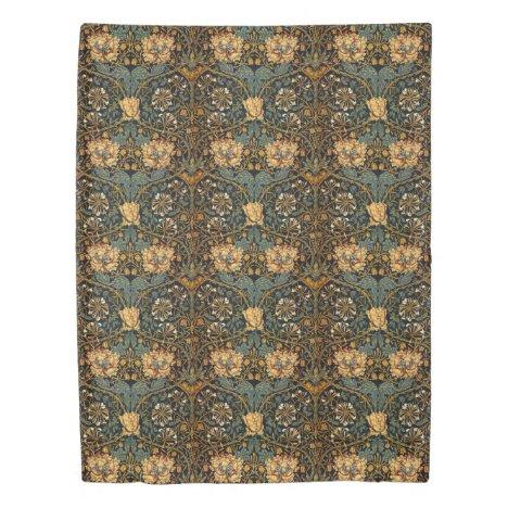 William Morris Antique Honeysuckle Floral Pattern Duvet Cover