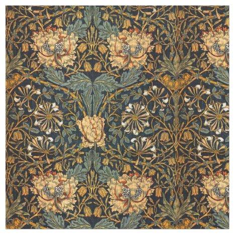 William Morris Antique Honeysuckle Floral Pattern Fabric