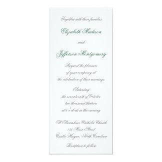 "William Morris Aqua Leaves Wedding Invitation 4"" X 9.25"" Invitation Card"