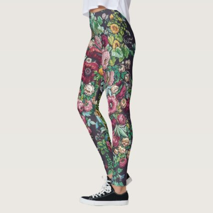 William Morris Art Nouveau Calico Chintz Pattern Leggings