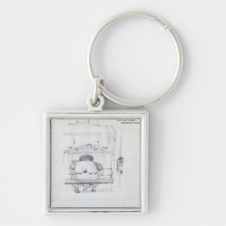 William Morris at his loom, caricature Keychain