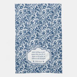 William Morris azul y blanco elegante Dishtowel Toallas