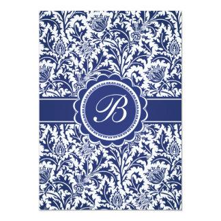 William Morris azul y blanco elegante floral Invitaciones Personales